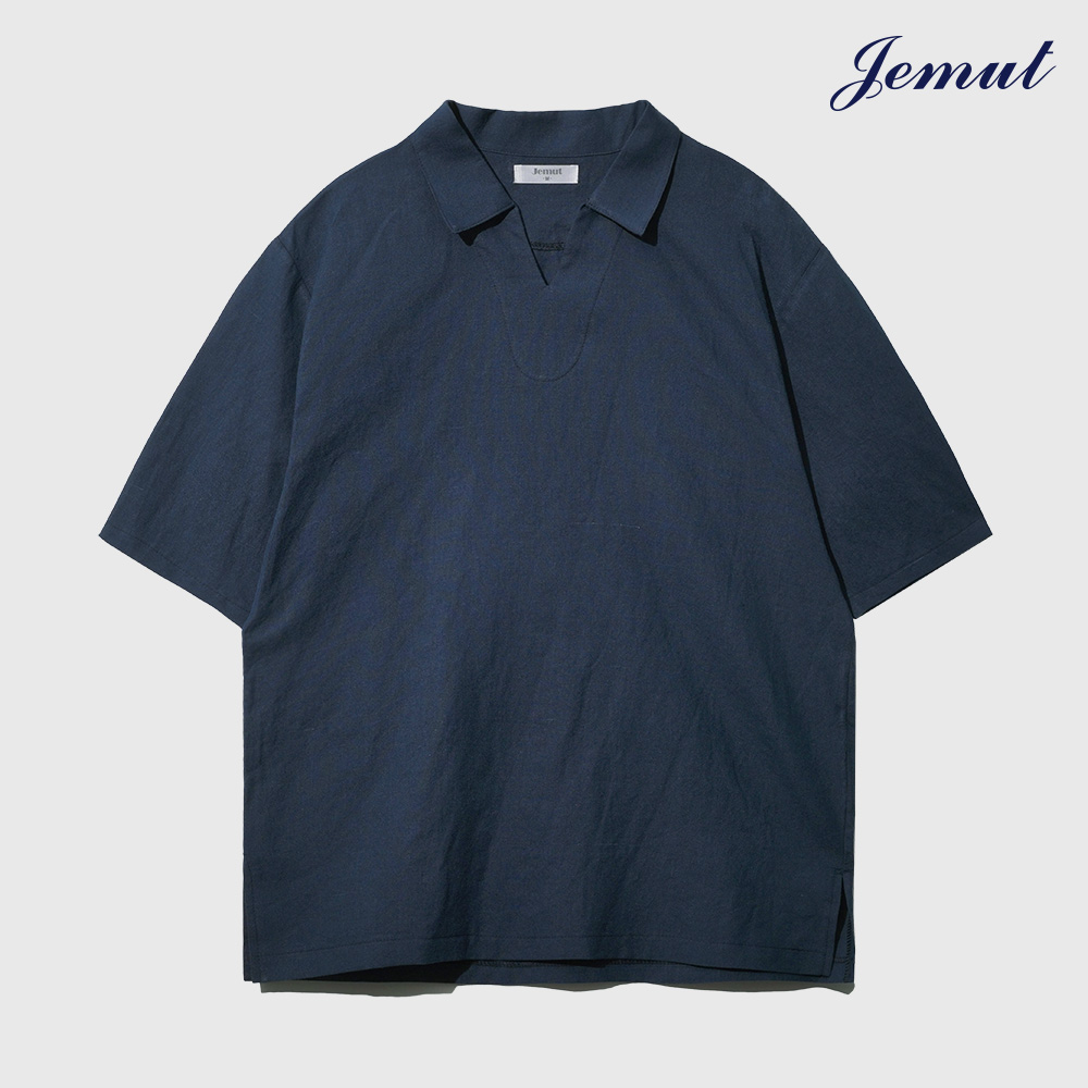 [제멋] 오픈 카라 린넨 티셔츠 네이비 YHST2297