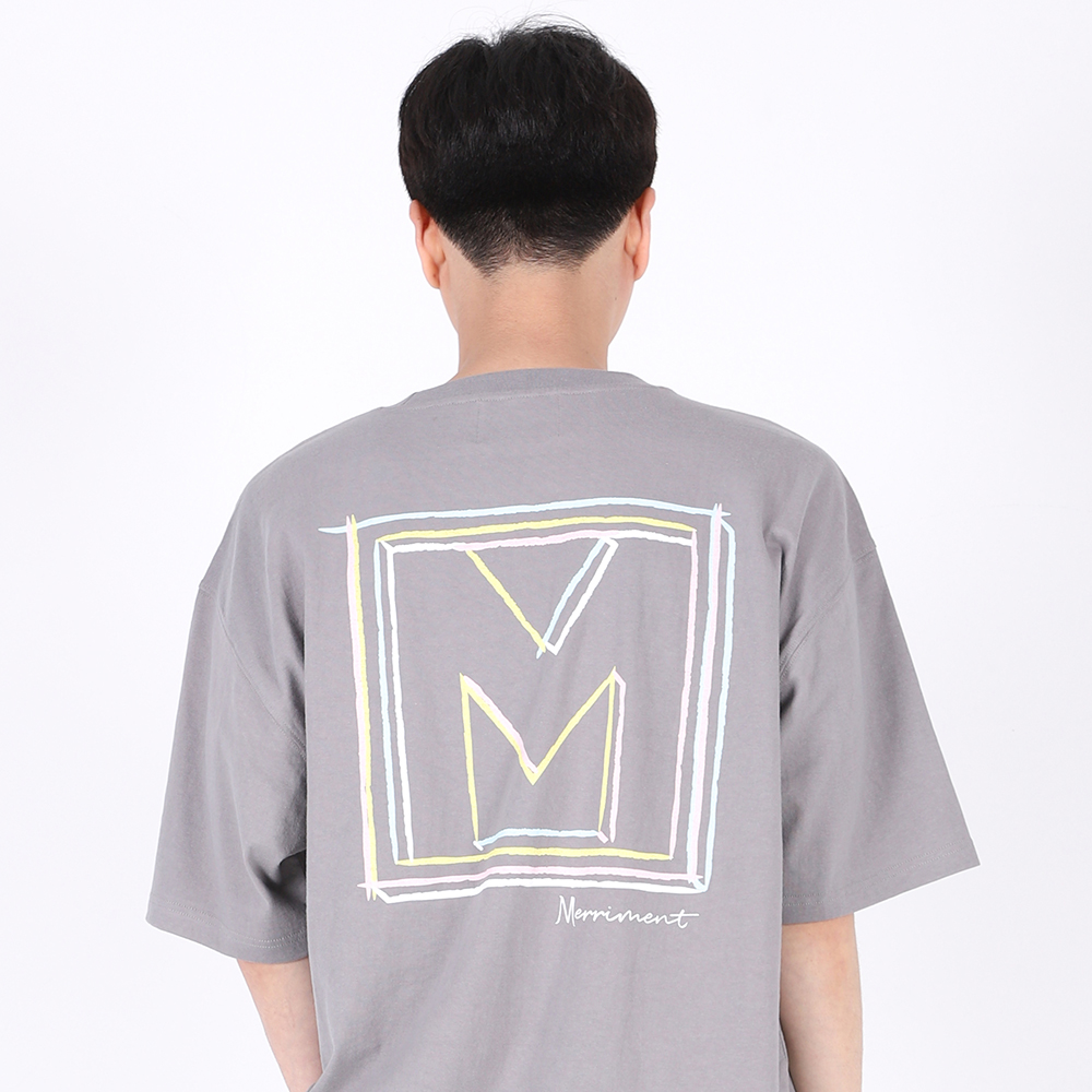 [단독할인](UNISEX)Drawing Square T-shirt(GREY)