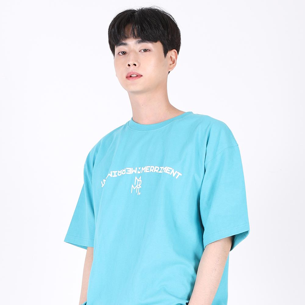 [단독할인](UNISEX)Arch Lettering T-shirt(AQUA)