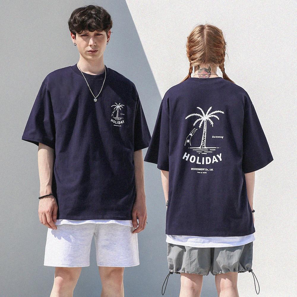 [UNISEX] 홀리데이 오버핏 반팔 티셔츠 (네이비)