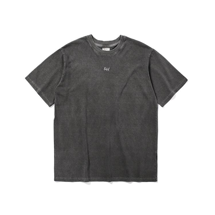 피그먼트 로고 티셔츠_챠콜