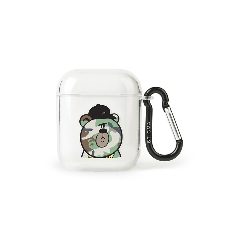 STIGMA AirPods CASE CAMOUFLAGE BEAR GREEN CLEAR