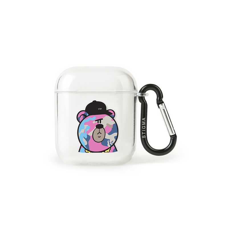STIGMA AirPods CASE CAMOUFLAGE BEAR PINK CLEAR