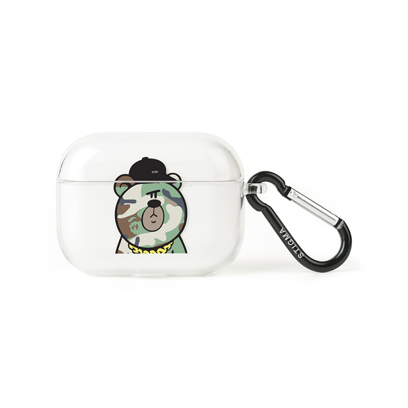 STIGMA AirPods Pro CASE CAMOUFLAGE BEAR GREEN CLEAR