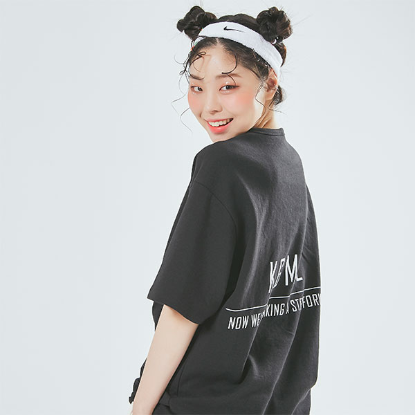 Oversize Straight Line T shirt Black