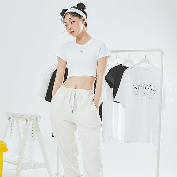 Square Logo Crop T shirt White