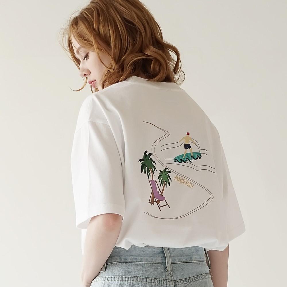 시사이드 티셔츠 화이트