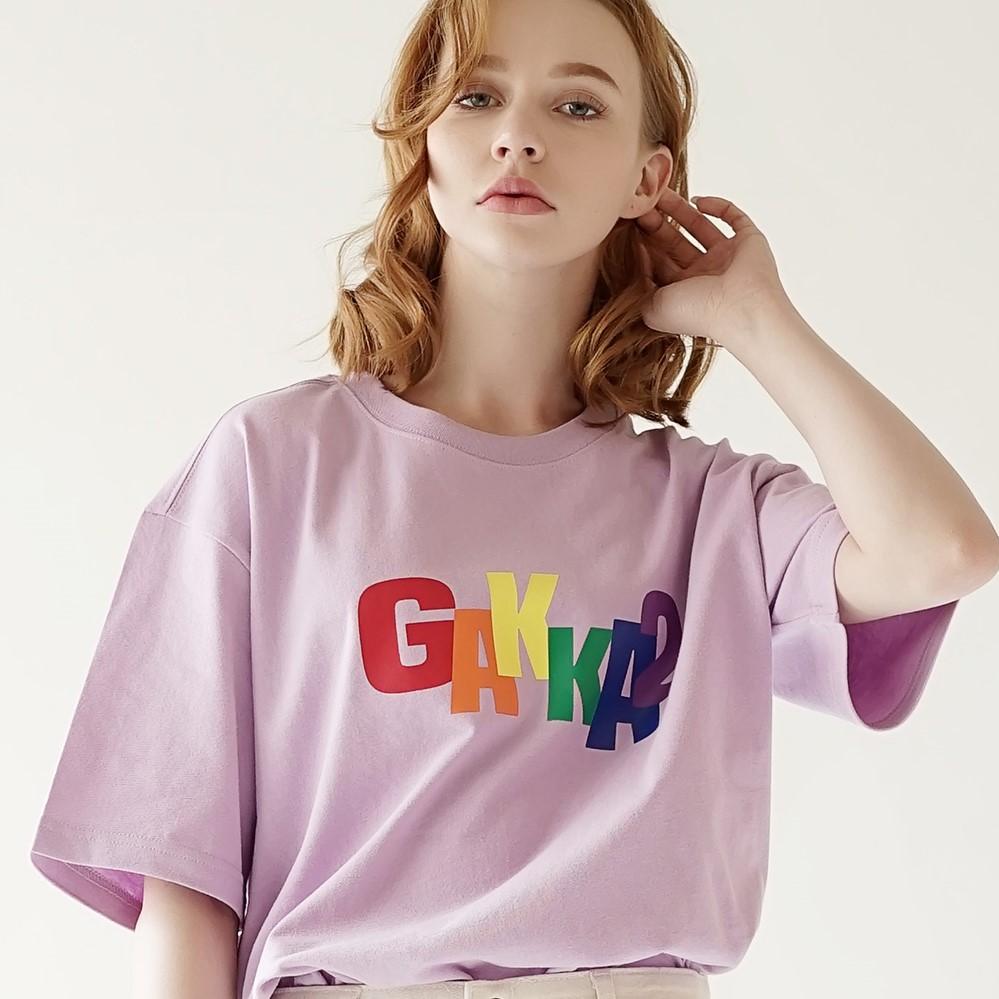 레인보우 레터링 티셔츠 라벤더