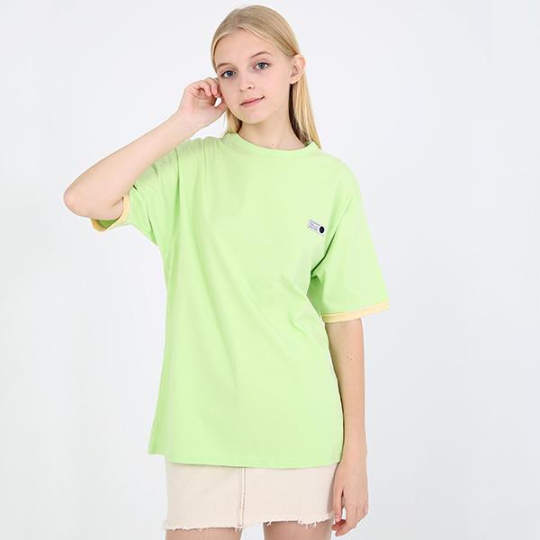[TOi] 스트라이프 포인트 반팔 티셔츠 형광그린