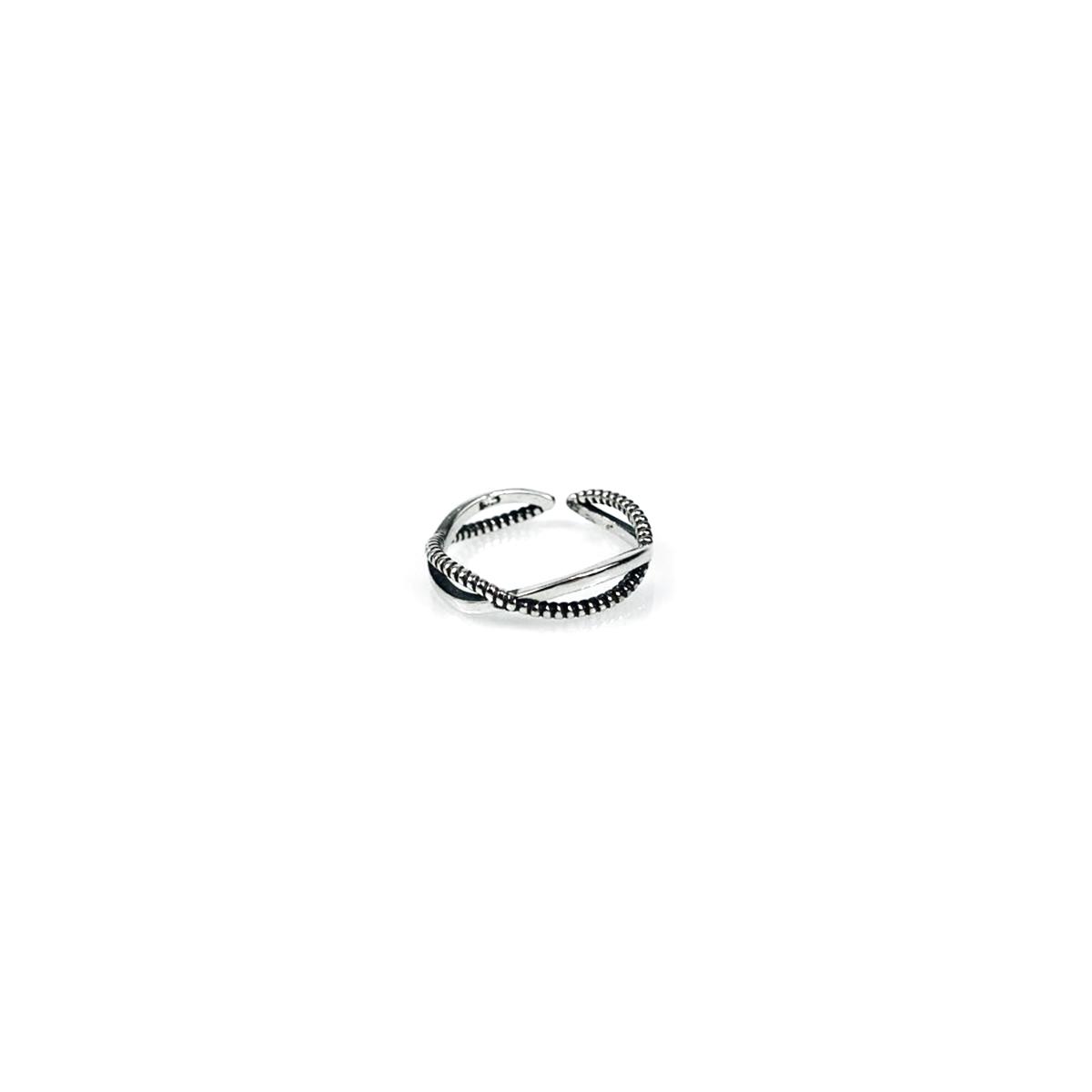 925 실버 엑스반도 반지 프리사이즈