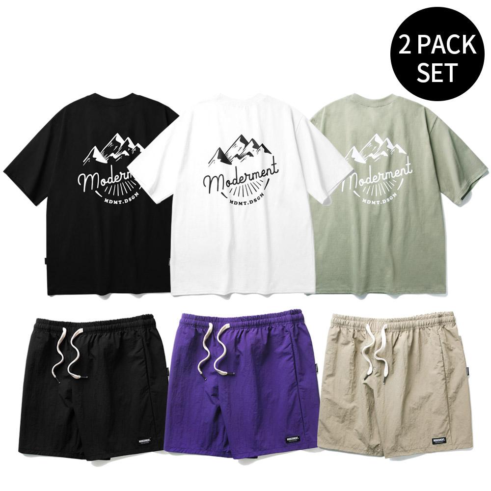 [1+1][세트] 마운틴 오버핏 반팔 티셔츠+유틸리티 하프팬츠