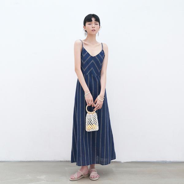 ETHNIC V-NECK LONG DRESS_NAVY
