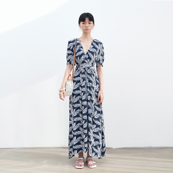 FEATHER STRAP LONG DRESS_NAVY