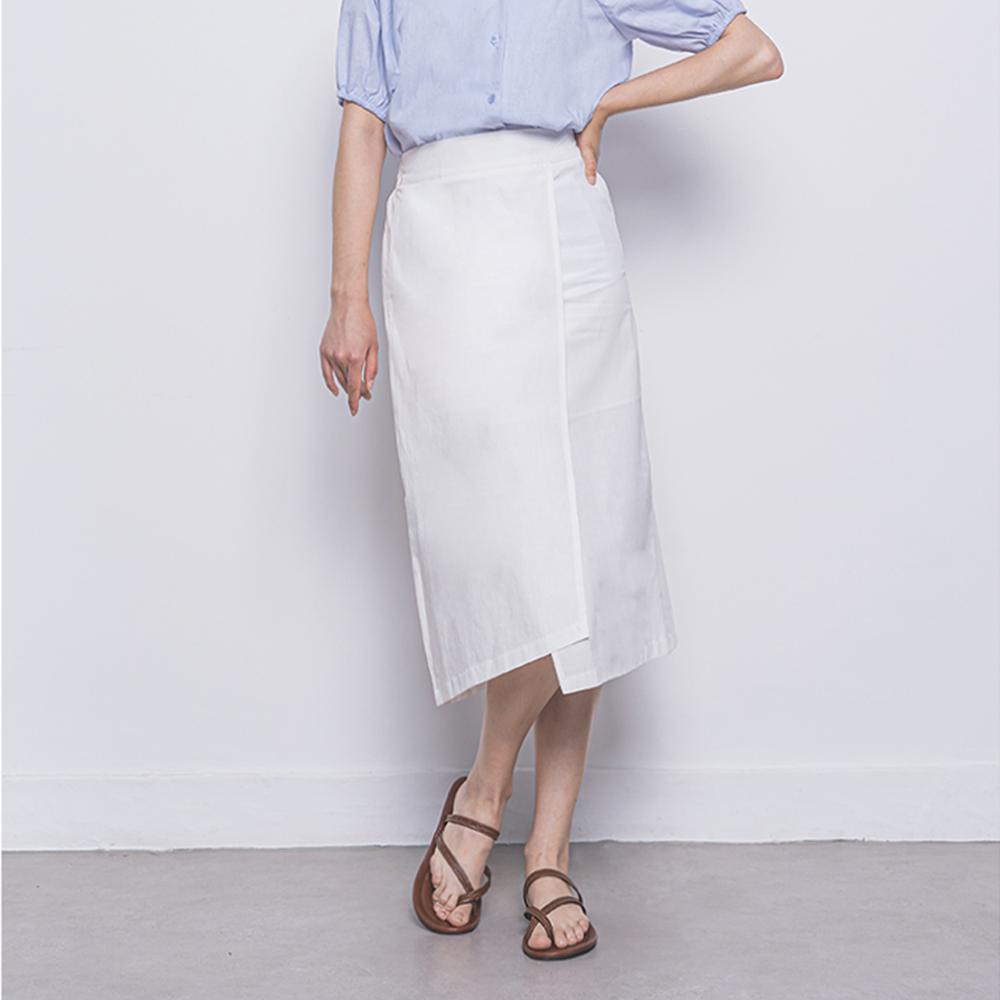 [입점특가]W27 linen rap long skirt white