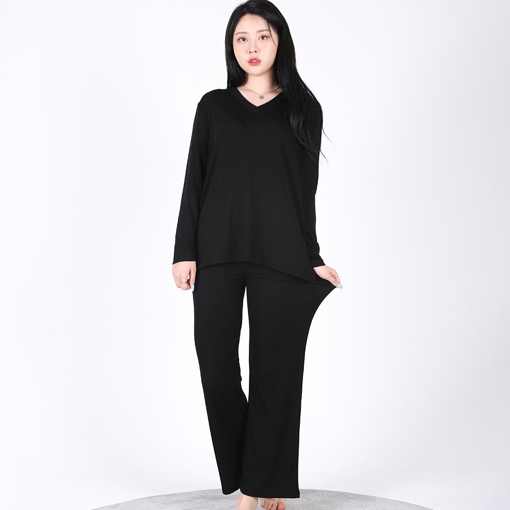 V-neck Soft Home wear SET(BLACK)