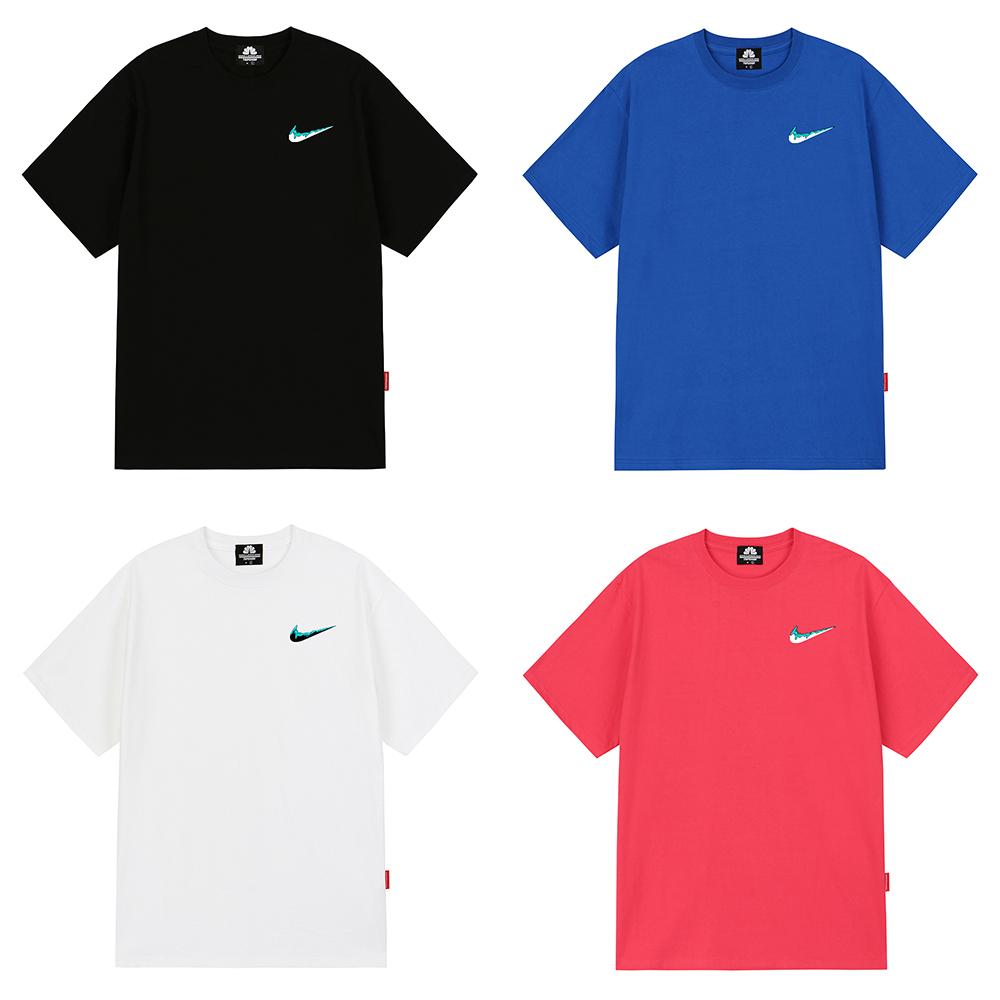 [마스크5개증정][단독]SKYBLUE SMALL BENDING 티셔츠 - 7 컬러
