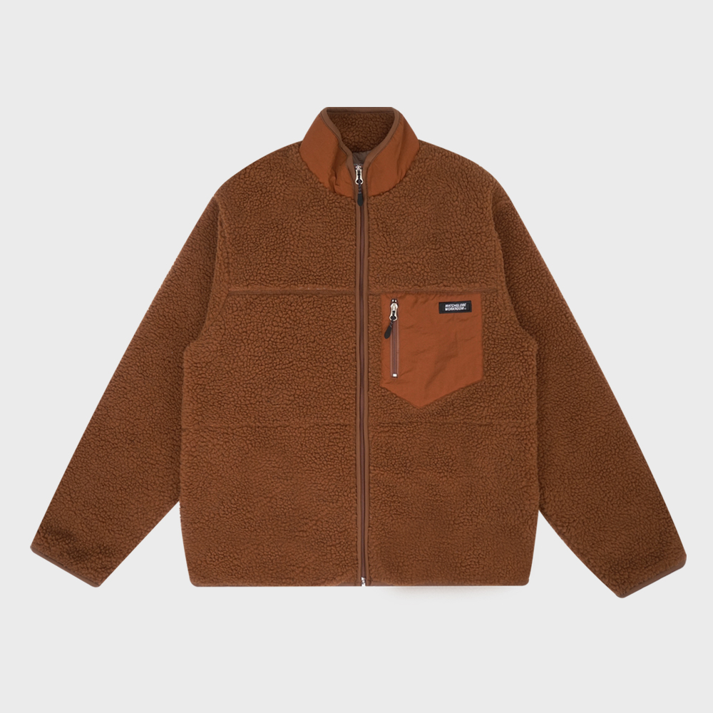 MG9F HIGH NECK DUMBLE ZIPUP (BROWN)