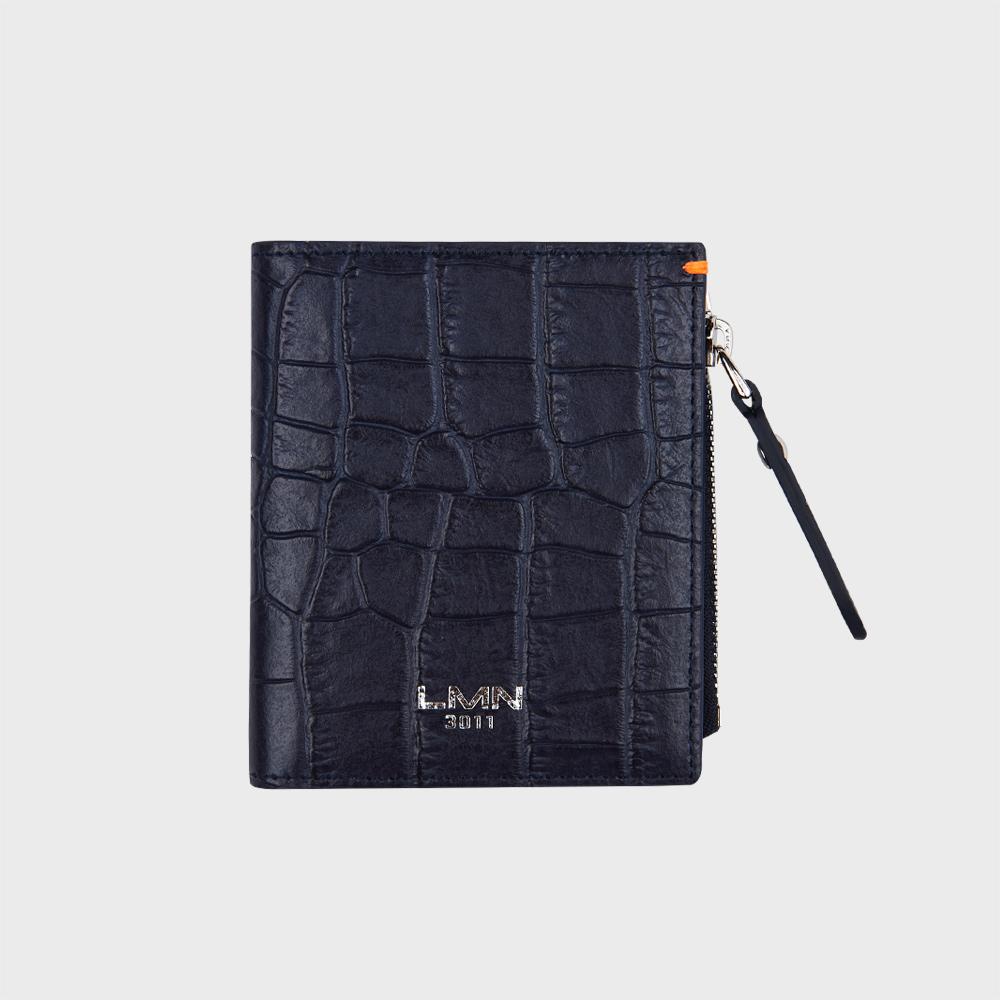 크로커 엠보 반지갑-네이비