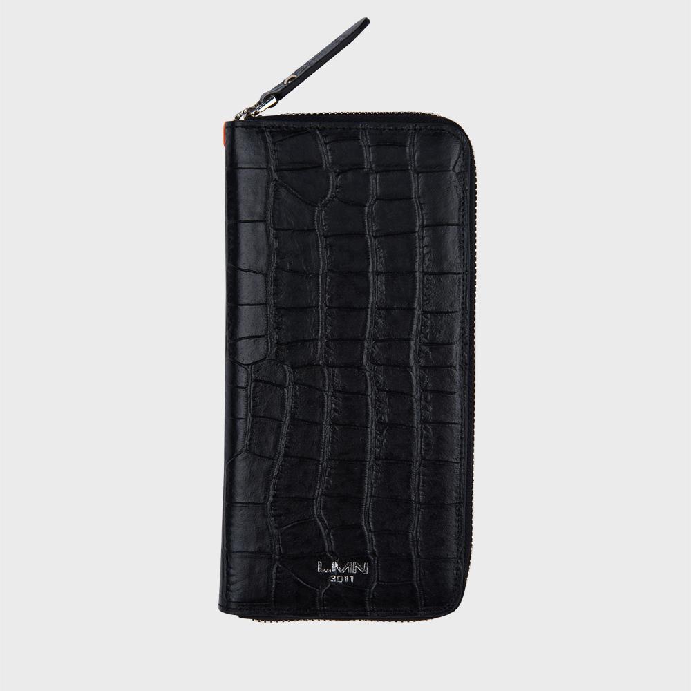 크로커다일 엠보 장지갑-블랙