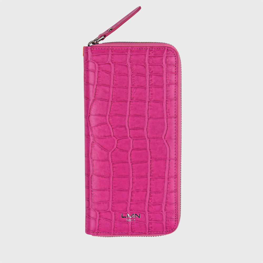 크로커다일 엠보 장지갑-핑크