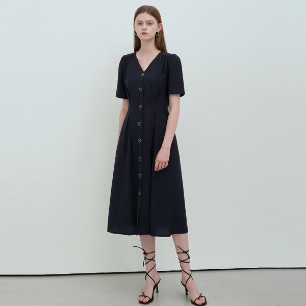 SLIM DART FLARE DRESS_NAVY