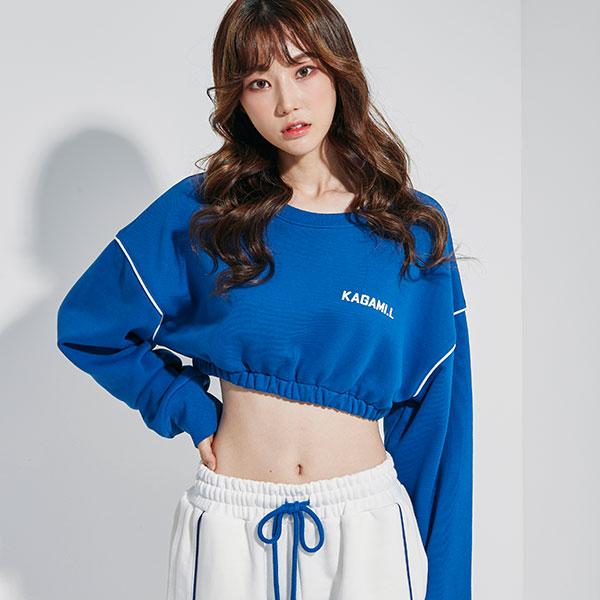 Oversize Line Point Crop Sweat shirt Blue