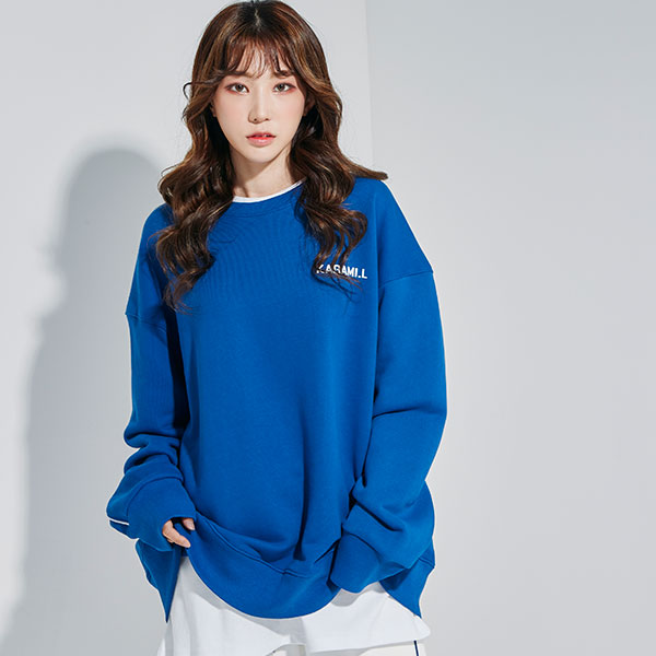 Oversize Back Line Sweat shirt Blue
