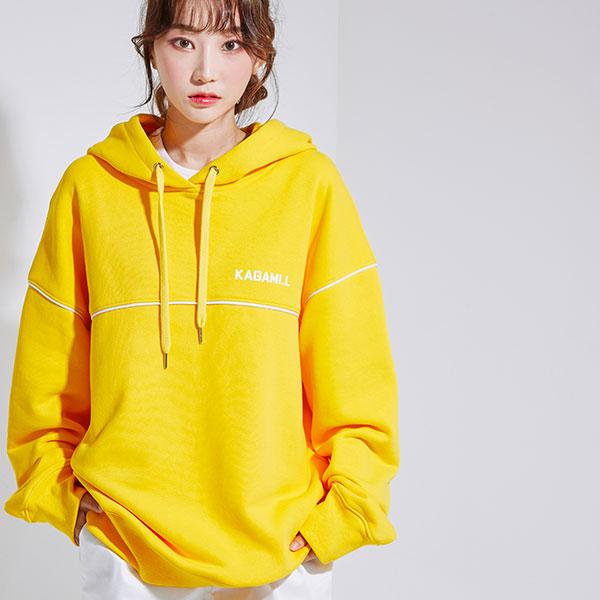 Oversize Pront Line Hoodie Yellow