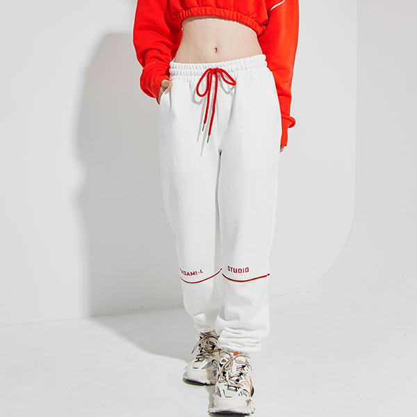 Red Pront Line Pants