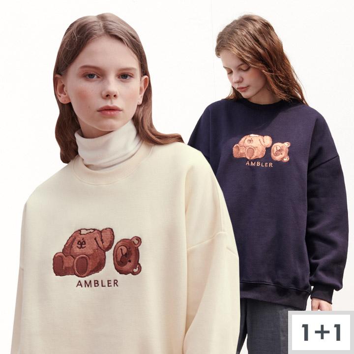 [1+1]엠블러 남여공용 곰돌이 teddy 오버핏 맨투맨 AMM718
