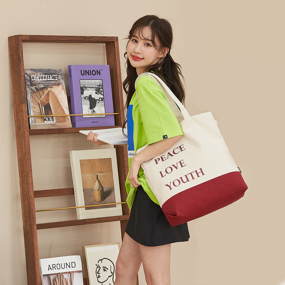aileen 유스 배색 에코백 가방 캐주얼가방 학생가방