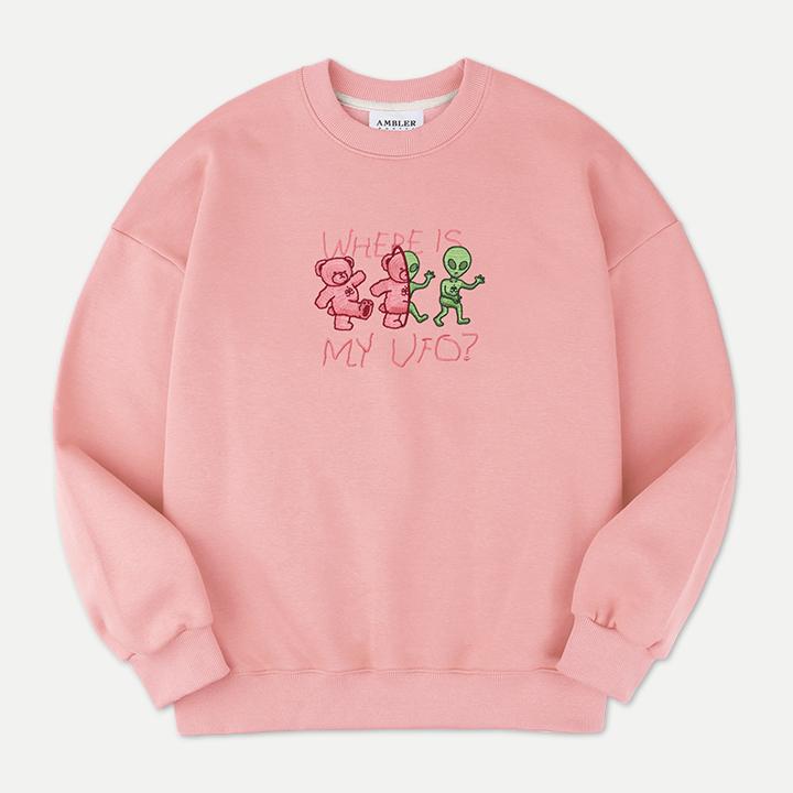 [엠블러]AMBLER 20FW 신상 자수 오버핏 맨투맨 티셔츠 AMM817-핑크