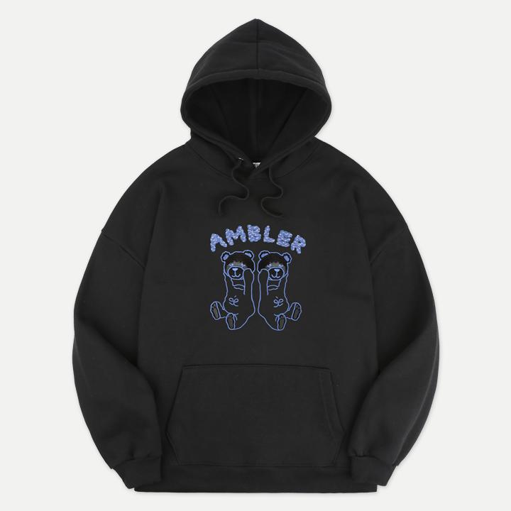 [엠블러]AMBLER 20FW 신상 자수 오버핏 후드티 AHP703-블랙