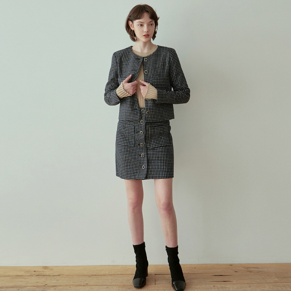 TWEED SINGLE JACKET+SKIRT SET_NAVY