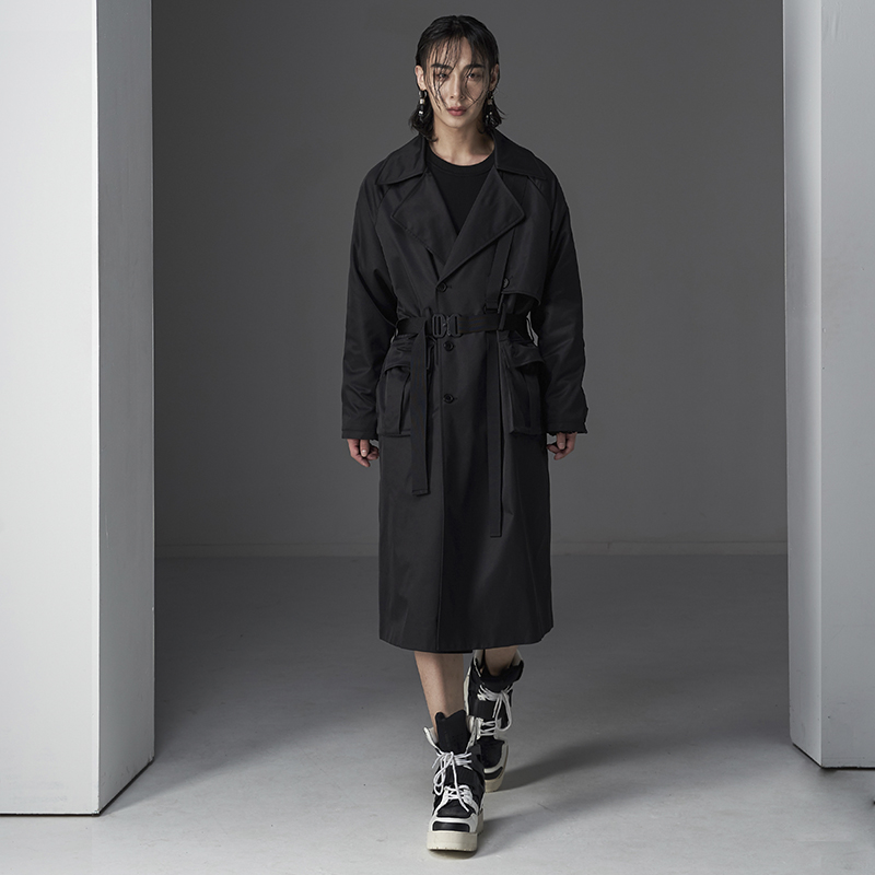 TECHFLAVOR OVERSIZED CARGO POCKET BLACK BUCKLE TRECH COAT (TO0011)