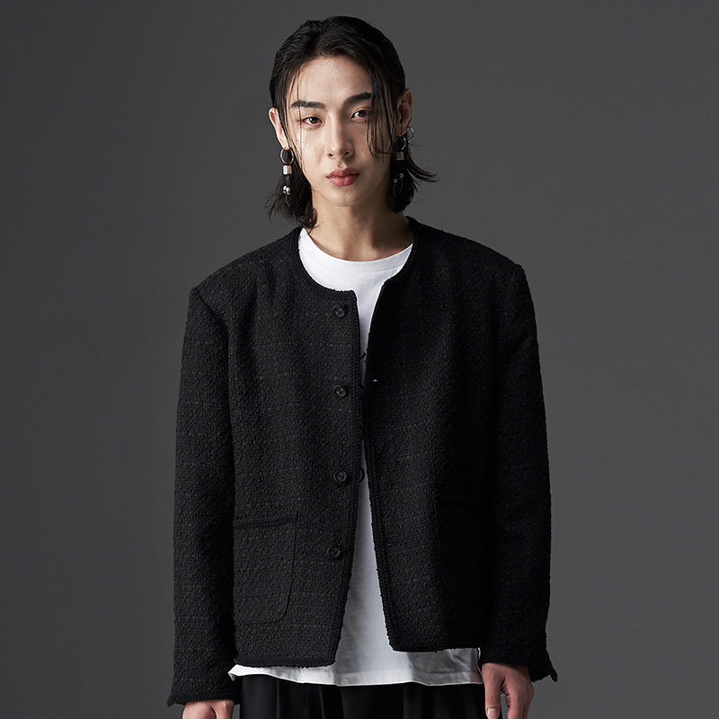 TECHFLAVOR UNISEX CROP BLACK BUTTON TWEED JACKET (TO0014)