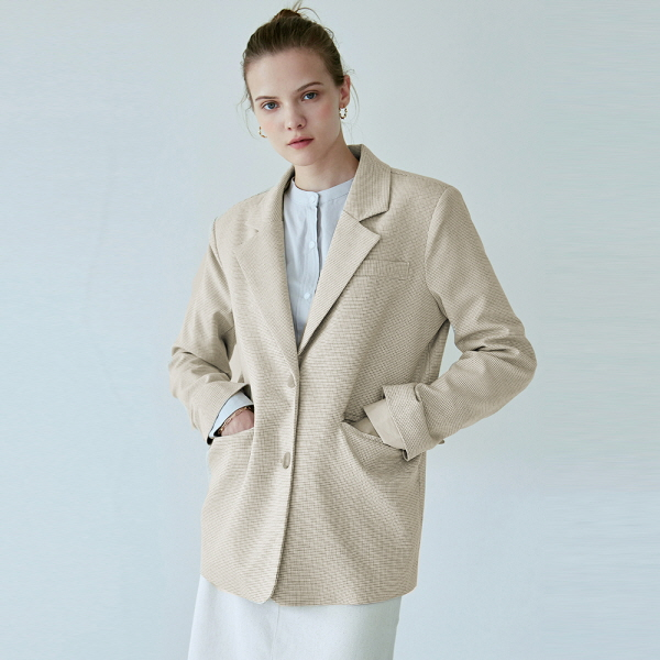 CLEAN CHECK SINGLE JACKET_CREAM