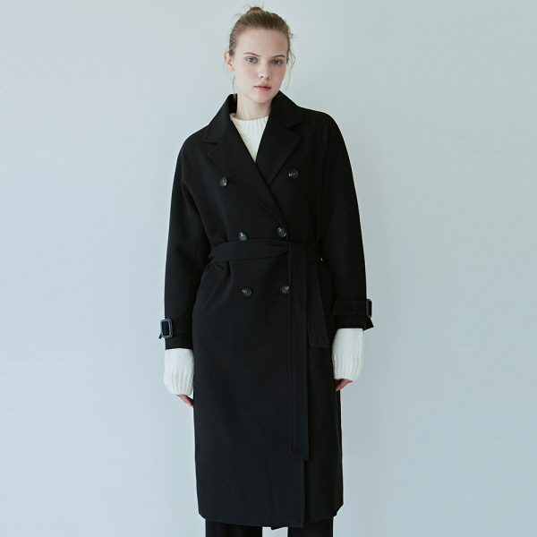 DRAPE DOUBLE TRENCH COAT_BLACK
