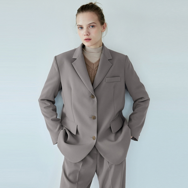 BASIC SUIT SINGLE JACKET_MOCHA GRAY