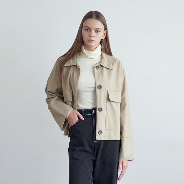 20FW pocket leather jacket - beige