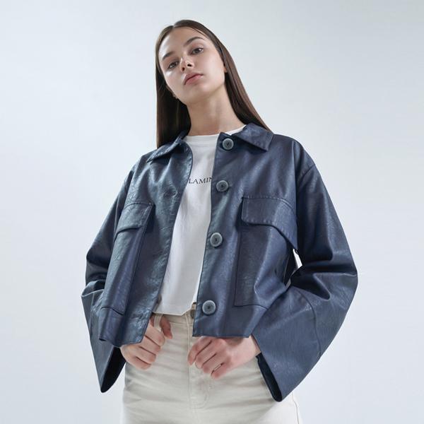 20FW pocket leather jacket - navy