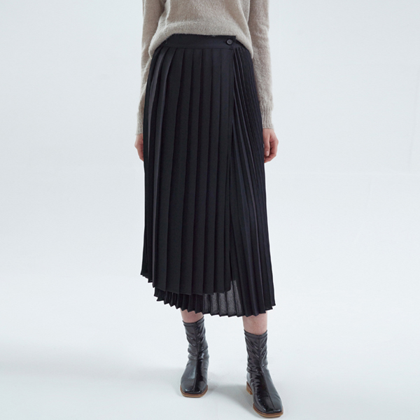 20FW flitz unbal skirt - black