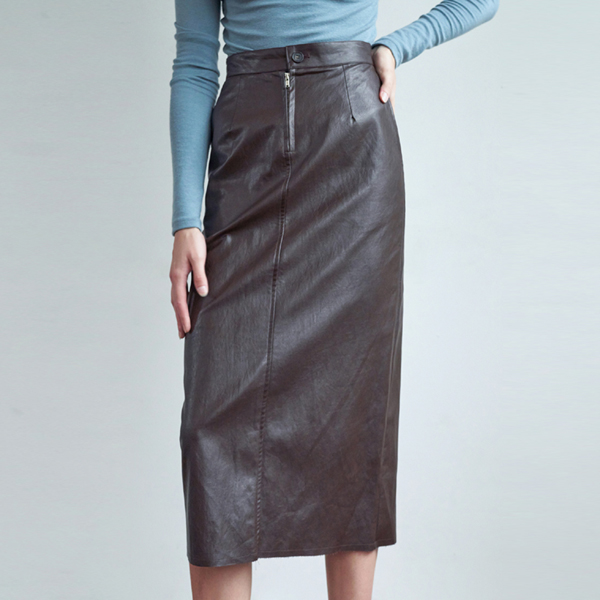 20FW slip leather skirt - brown