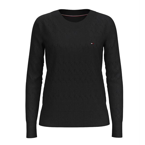[해외]타미힐피거 우먼 스쿠프 넥 스웨터 BLACK 76J0244