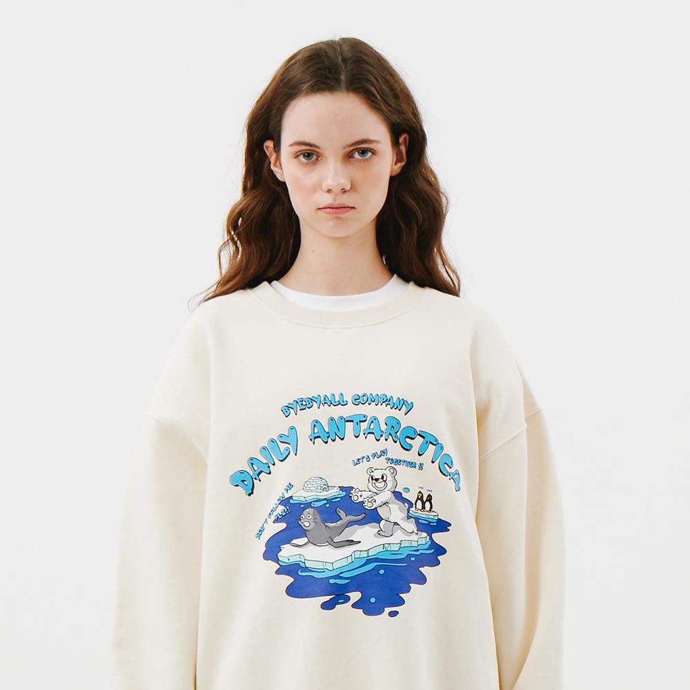 남극의 하루 그래픽 오버핏 맨투맨 - 아이보리