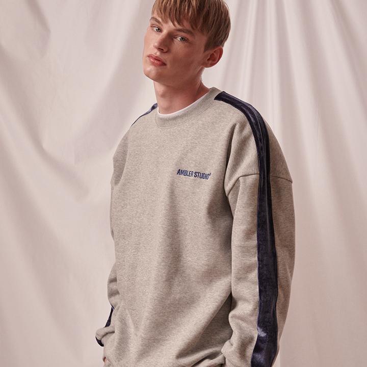 [엠블러]AMBLER 20FW 신상 자수 오버핏 맨투맨 티셔츠 AMM816-멜란지