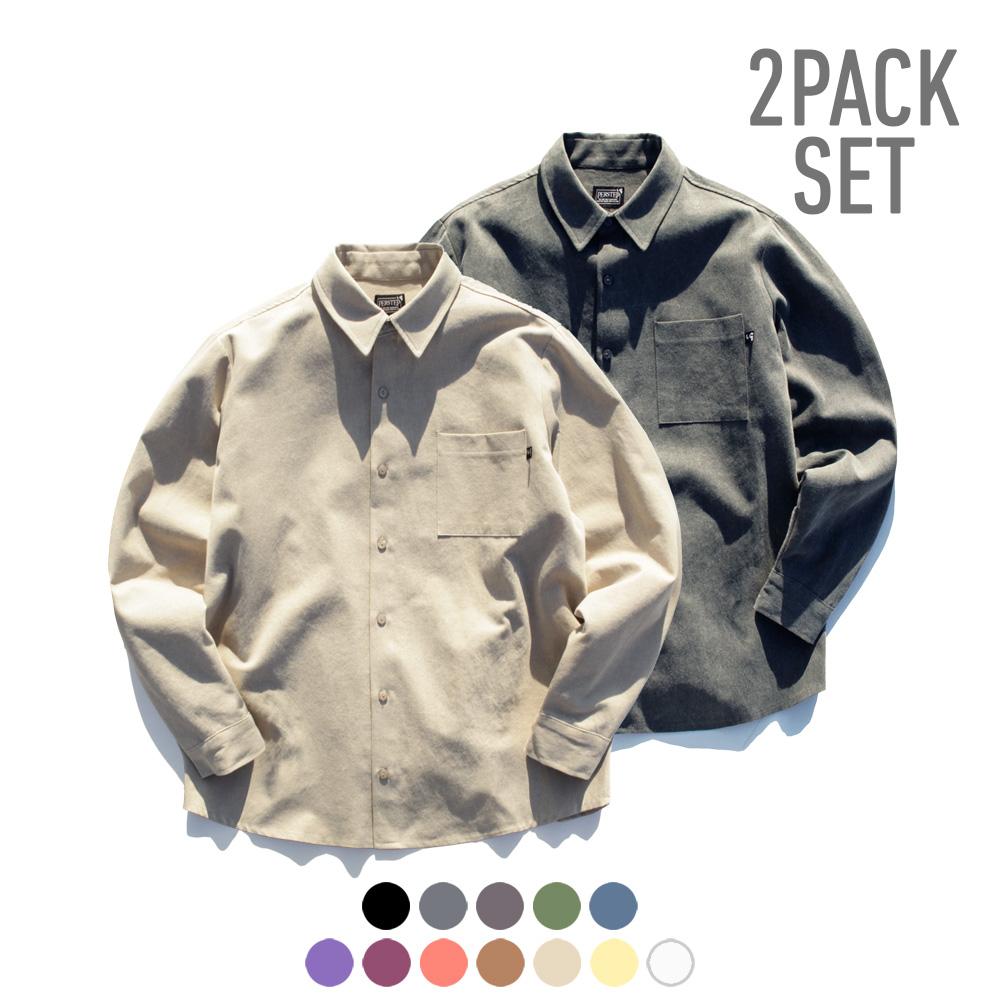 [퍼스텝] [패키지] 피그먼트 루즈핏 셔츠 12종 2PACK SMLS4058