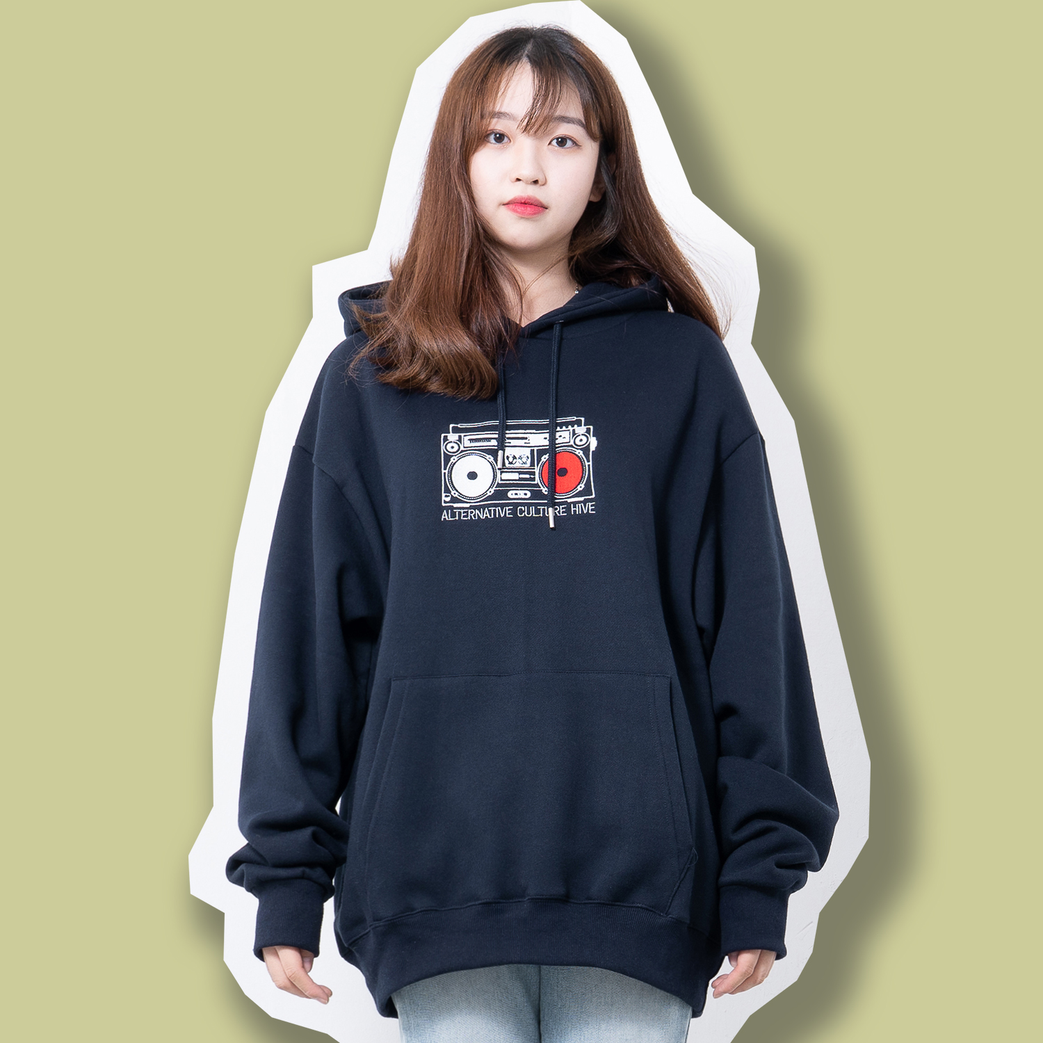 BOOMBOX OVERFIT HOODIE NAVY (feat.기모)
