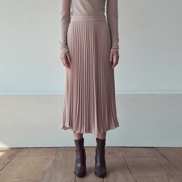 SILKY PLEATS BANDING SKIRT_BEIGE