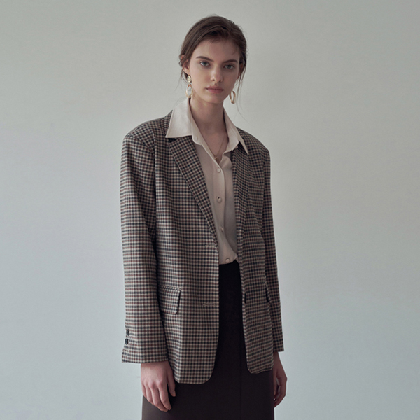 CLASSIC CHECK SINGLE JACKET_BEIGE